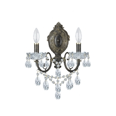 Crystal Sconce Wall Light in English Bronze Finish