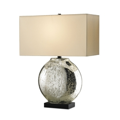 Table Lamp with Beige / Cream Shade in Silver/ Black Finish