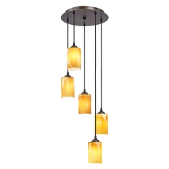 Design Classics Lighting Multi-Light Pendant with Cylinder Amber Art Glass and Five Lights 580-220 GL1022C