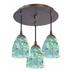 3-Light Semi-Flush Ceiling Light with Turquoise Art Glass - Bronze Finish