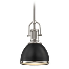 Industrial Mini-Pendant Black and Satin Nickel 7.38-Inch Wide