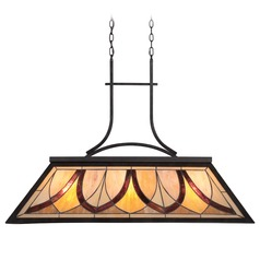 Quoizel Asheville Valiant Bronze Island Light with Rectangle Shade