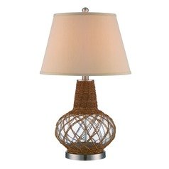 Lite Source Kesler Polished Steel / Clear / Natural Table Lamp with Empire Shade