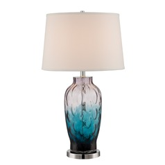 Lite Source Rahma Chrome / Colored Table Lamp with Drum Shade