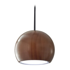 Adesso Home Cypress Walnut / Brushed Steel LED Mini-Pendant Light with Bowl / Dome Shade