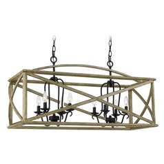 Farmhouse Weathered Oak 8-Light Island Light