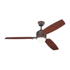 Modern Ceiling Fan with Light with White Glass in Roman Bronze Finish