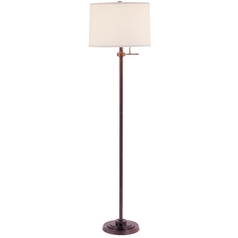 Design Classics Lighting Modern Floor Lamp in Bronze Finish with Off-White Drum Shade 6557-20/SH7211 KIT