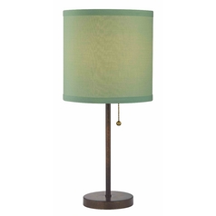 Design Classics Lighting Modern Bronze Pull-Chain Table Lamp with Green Drum Shade 1900-604 SH9525