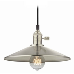 Design Classics Lighting Retro Hoyt Satin Nickel Cone Shade Mini-Pendant Light  CA1-09 SHD2-09