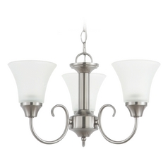 Sea Gull Lighting 3-Light Mini Chandelier with White Glass in Brushed Nickel