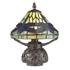 Tiffany Table Lamp with Multi-Color Glass in Dark Bronze