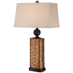 Minka Bronze Table Lamp with Rectangle Shade