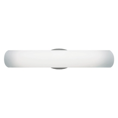 Modern Vertical Bathroom Light with White Glass in Satin Nickel Finish