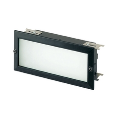 Modern Recessed Step Light with White Glass in Black Finish