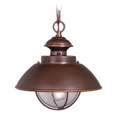 Outdoor Hanging Light with Seeded in Burnished Bronze Finish