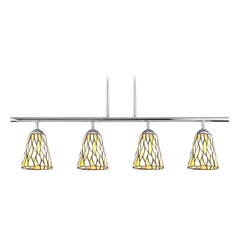 Tiffany Glass Linear Pendant Light with 4-Lights in Chrome Finish
