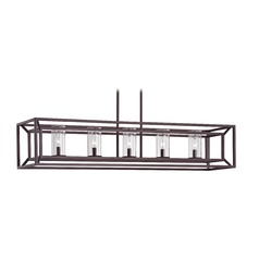 Seeded Glass Linear Chandelier with Cage Frame Bronze 5 Lt