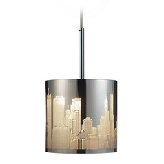 Elk Lighting Skyline Polished Stainless Steel LED Mini-Pendant Light with Cylindrical Shade