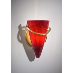 Holtkoetter Modern Sconce Wall Light with Red Glass in Brushed Brass Finish