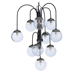 Mid-Century Modern Seeded Glass LED Cluster Chandelier Black/Polished Nickel Reverb by Maxim