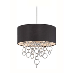Modern Drum Pendant Light with Black Shade in Chrome Finish