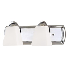 Bathroom Light with White Glass in Chrome Finish