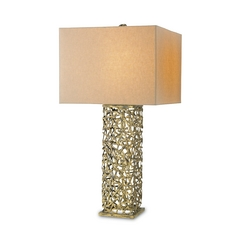 Table Lamp with White Shade in Hand Rubbed Gold Leaf Finish