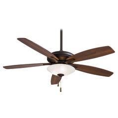 52-Inch Modern Ceiling Fan with Light with White Glass in Oil Rubbed Bronze Finish
