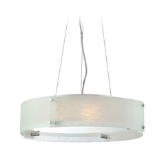 Modern Drum Pendant Light with Textured Glass Shade