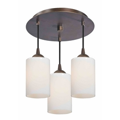 3-Light Semi-Flush Ceiling Lightt with Opal White Glass - Bronze Finish