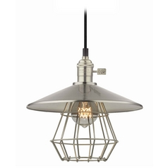 Design Classics Lighting Vintage Hoyt Satin Nickel Cone Shade Mini-Pendant Light With Cage  CA1-09 SHD2-09 CAGE1-09