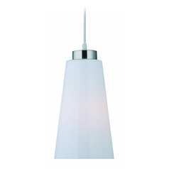 Lite Source Fiasco Polished Steel Mini-Pendant Light with Conical Shade