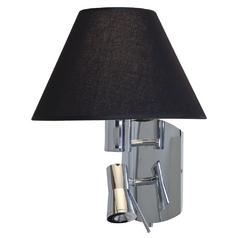 Modern Wall Lamp with Black Shade in Chrome Finish