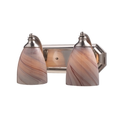 Bathroom Light with Art Glass in Satin Nickel Finish