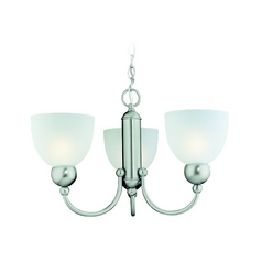 Modern Mini-Chandelier with White Glass in Brushed Nickel Finish
