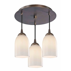 3-Light Semi-Flush Light with Opal White Glass - Bronze Finish