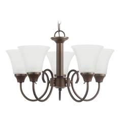 Mini-Chandelier with White Glass in Bell Metal Bronze Finish