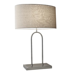 Adesso Home Belmont Brushed Steel Table Lamp with Oval Shade