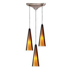 Modern Multi-Light Pendant Light with Brown Glass and 3-Lights