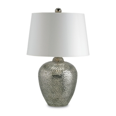 Table Lamp with White Paper Shade in Nickel Finish