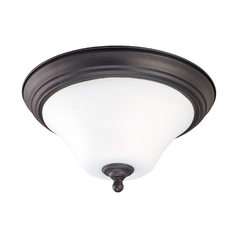 Bronze Fluorescent Ceiling Light with White Glass - 15-Inches Wide