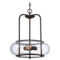 Seeded Glass Pendant Light Bronze Quoizel Lighting