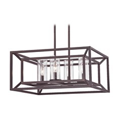 Seeded Glass Chandelier with Square Caged Frame Bronze 4 Lt