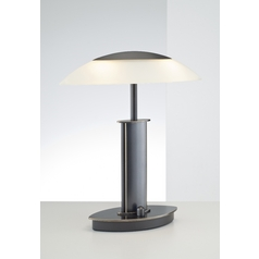 Holtkoetter Modern Table Lamp with Beige / Cream Glass in Hand-Brushed Old Bronze Finish
