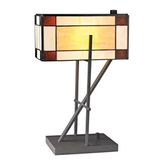 LED Table Lamp with Multi-Color Glass in Matte Black Finish