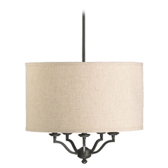 Quorum Lighting Atwood Oiled Bronze Pendant Light with Drum Shade