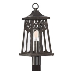 Imperial Bronze 1-Light Post Light with Clear Shade