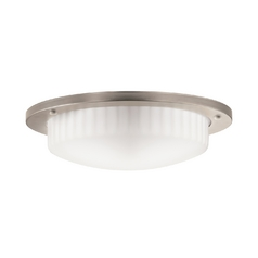 Kichler Flushmount Light with White Glass in Antique Pewter Finish