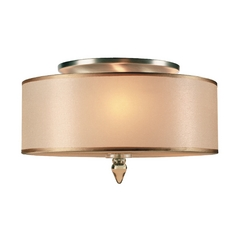Semi-Flushmount Light with Amber Shade in Antique Brass Finish